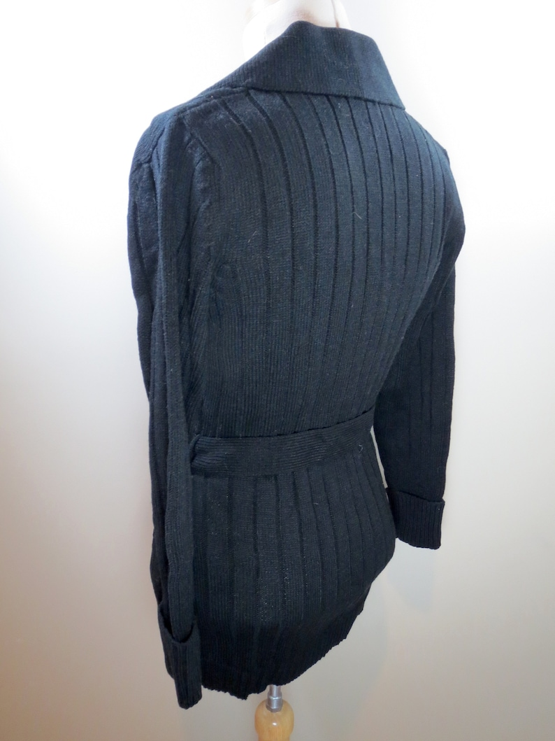 New Vintage Belted Cardigan 1970s Bohemian Knit Sweater Button Down Sweater Black Sweater  Vintage Knit Sweater Vintage Sweater Women/'s S