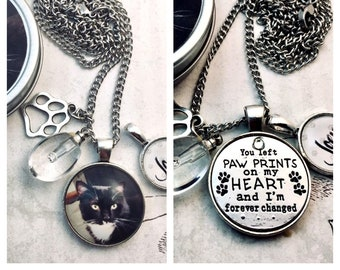 Pet Loss Photo Necklace and Verse Necklace with Birthstone or Glass Urn