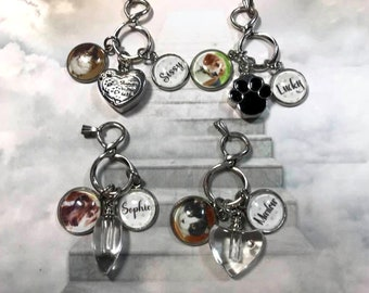 Pet Urn Necklace with Photo and Name Charms your choice of urns Pet Loss Memorial