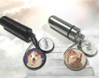 Pet Memorial and Cremation Urn Belt or Purse Clip Rearview Mirror Charm with Photo and Name Charms