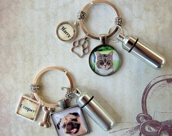 Pet Memorial Key Ring Pet Memorial Keychain  with Custom Photo and Cremation Urn,  Loss of Cat,  Loss of Dog Memory,  Ash Container