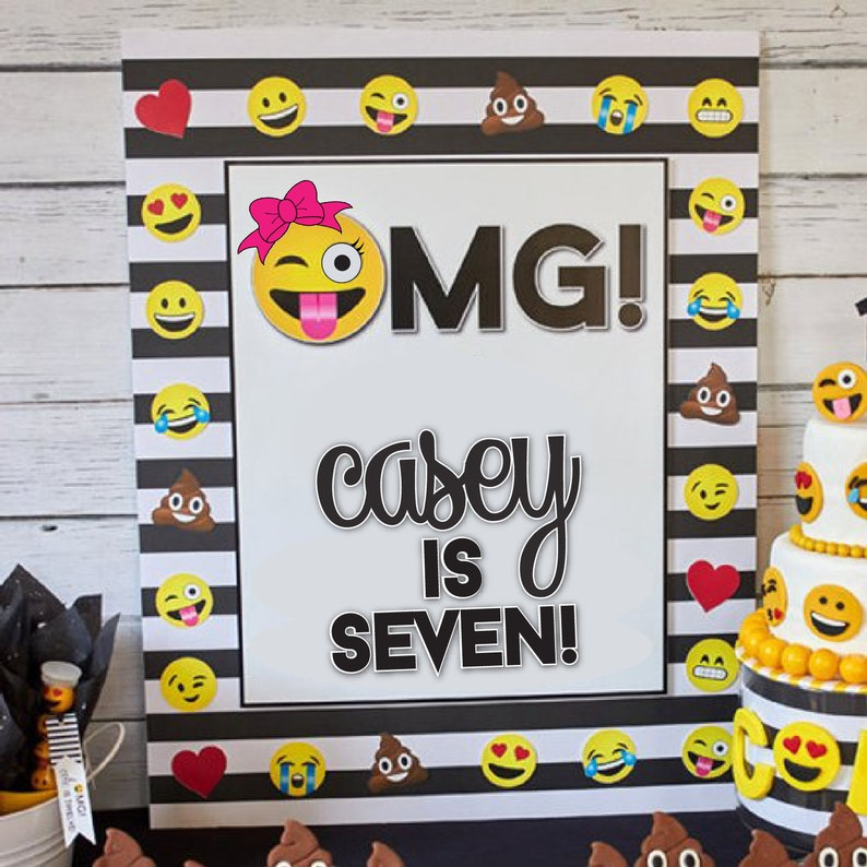 Printable Emoji Birthday Party Backdrop | Emoji Birthday Party Decorations  | LuluCole