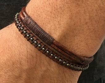 Men s Leather Bracelet - Men s Anchor Bracelet - Men s Brown Bracelet -  Men s Jewelry - Gift for Him - Mens Rugged Bracelet - Made in USA b4cd97ded102