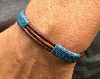 Men's Bracelet, Men's Cuff, Men's Jewelry, Leather Bracelet, Men's Blue Bracelet, Anniversary Gifts for Him, Groomsmen Gifts, Gifts for Dad