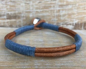 Men's Leather Bracelet, Men's Jewelry, Men's Fashion, Groomsmen Gifts, Gifts for Him, Wrap Bracelets, Gifts for boyfriend, Handmade Jewelry
