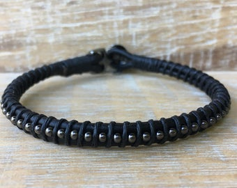 Men's Leather Bracelet, Men's Bracelets, Gifts for Dad, Gifts for Boyfriend, Handmade Bracelets, Groomsmen Gifts, Black Leather Bracelet