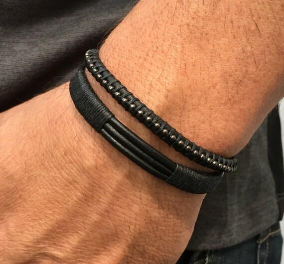 Leather Cuff Men Men's Bracelets Men's Black | Etsy
