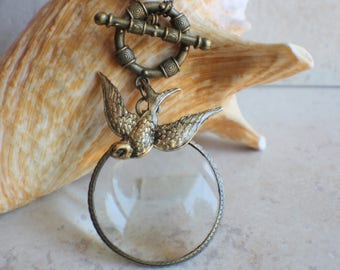 Magnifying Glass Necklace, Magnifying Glass Pendant, Dove Pendant, Monocle Pendant, Dove Necklace, Magnifier, Magnifying Loupe