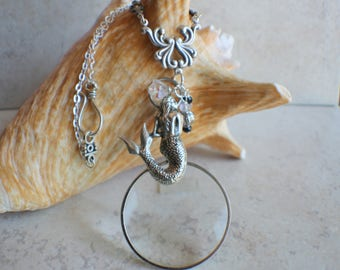 Magnifying Glass Necklace, Magnifying Glass Pendant, Mermaid Pendant, Monocle Pendant, Mermaid Necklace, Magnifier, Magnifying Loupe