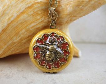 Reversible Bumblebee Locket, Small Photo Locket, Photo Locket Necklace, Mothers Day Locket, Keepsake Photo Locket, Wedding Photo Locket