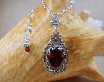 Gothic Crystal Red Necklace,  Crystal Filigree Necklace, Wedding Pendant, Red Crystal Necklace,  Goth Wedding Jewelry, Red Crystal Pendant,