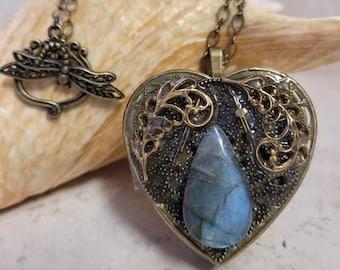 Labradorite music box locket, Music box locket, Music box pendant, Labradorite locket, Heart shaped locket, Music Box necklace, Photo locket