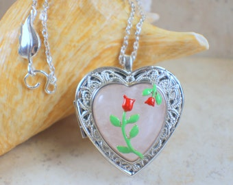 Rose Quartz Music Box Locket, Music box locket, Music box pendant, Silver locket, Heart Shaped locket, Music Box Necklace, Photo locket