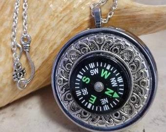 Compass Music Box, Music Box Locket, Music Box Necklace, Mini Music Box, Musical Pendant, Music Box Jewelry, Compass Jewelry