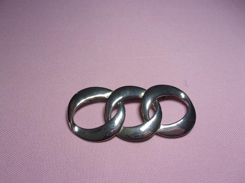SALE vintage silver tone triple ring brooch estate jewelry