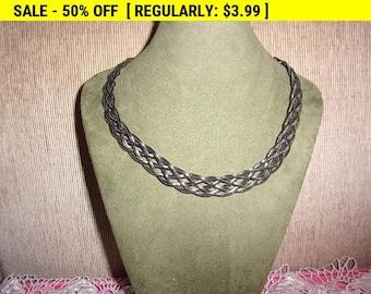 vintage silvertone braided chain necklace, hippie, boho
