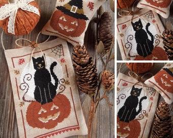 Halloween Guardians - Pumpkin Jack and the Black Cat - PDF DIGITAL Cross Stitch Pattern