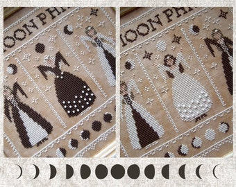 The Moon Phases - New Moon and Full Moon Cycles - Digital Cross Stitch Pattern