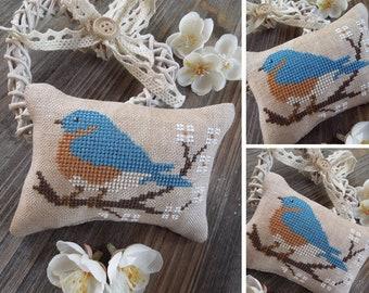The Little Birds Calendar - May - Eastern Bluebird - PDF DIGITAL Cross Stitch Pattern