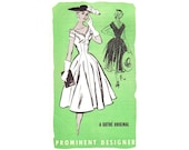 1950s Dress Pattern, Prominent Designer A548 Gothe, Fit & Flare Princess, Ruffled Sweetheart Neck, Vintage Sewing Pattern Bust 30 Uncut