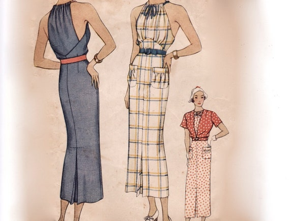 Rare Vintage 1930s Sewing Pattern Sports Dress with Unusual