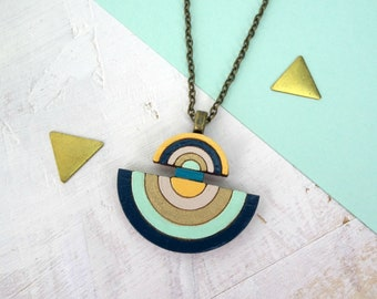 Art Deco Geometric Eco Wooden Necklace