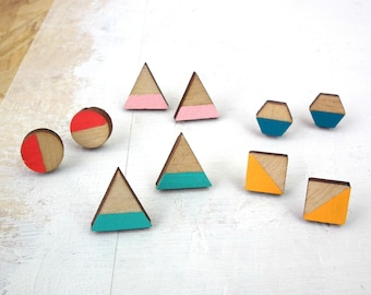 Geometric Earrings - Triangle Studs - Wooden Stud Earrings - Gifts For Her - Mix and Match - Neon Studs - Pastel Earrings - Birthday Gift