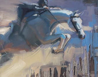 Gray Hunter Jumper Horse Giclée Fine Art Print
