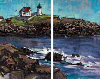 Lighthouse Landscape Triptych Giclée Fine Art Print