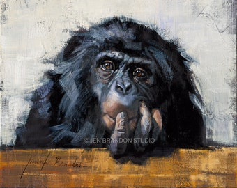 Chimpanzee Art Matted Print, Safari Animals Nursery Decor, Jungle Animal Nursery Art