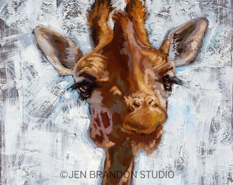 Giraffe Art Print on Canvas Home Decor Animal Portrait