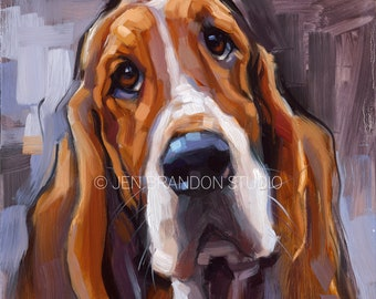 Basset Hound Puppy Dog Pet Portrait - Original Oil Painting