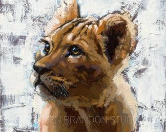 Lion Cub Matted Print