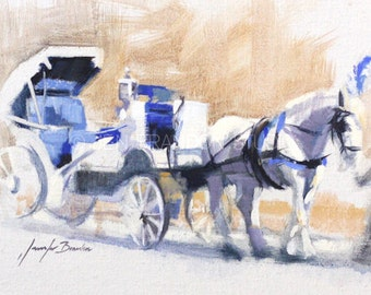 Horse and Carriage in NYC Oil Painting