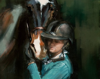 Horse and Girl Portrait Giclée Fine Art Print