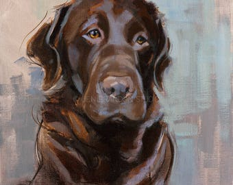 Chocolate Lab Portrait Giclée Fine Art Print