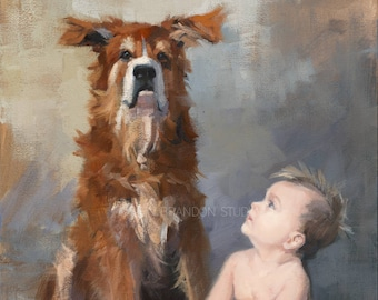 Baby and Dog Portrait Giclée Fine Art Print