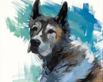 Akita Dog Portrait Giclée Fine Art Print