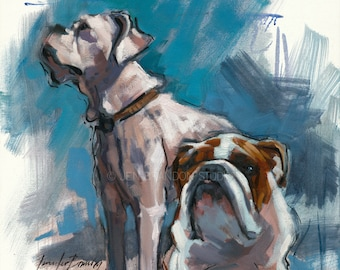 Bulldog and Boxer Giclée Fine Art Print
