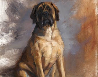Mastiff Dog Portrait Giclée Fine Art Print