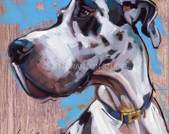 Great Dane Harlequin Dog Pet Portrait - Original Oil Painting