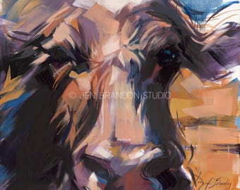 Cows on Canvas 3 - Oil Painting by Jennifer Brandon