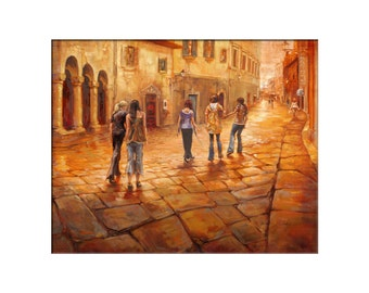 Italy Art - Matted Print of Original Oil Painting, Italian, Friends, Gold, Streets, Road, Walking, Wall Decoration