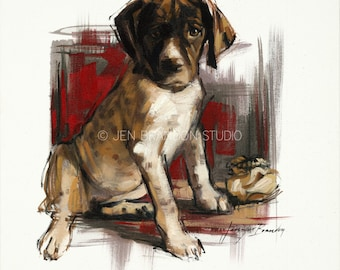 German Shorthaired Pointer Puppy Giclée Fine Art Print
