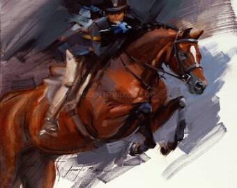 Horse Jumping Art Giclée Fine Art Print