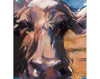 Cow Art - Matted Print of Original Oil Painting - Cows, Animal Lovers, Farm, Brown Cow, Wall Decor, Fun Art