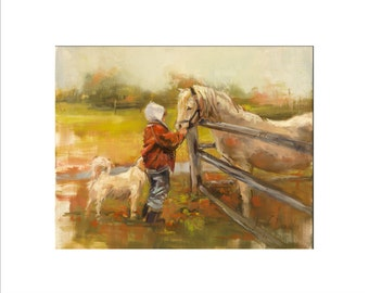 Horse and Child Art - Matted Print of Original Oil Painting, Animal Lovers, Horses, Dogs, Happy Art, Wall Decoration