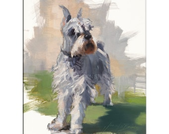 Miniature Schnauzer Dog Art - Matted Print of Original Oil Painting - Dogs, Puppy, Animal Lovers, Fur, Boy, Girl, Wall Decoration