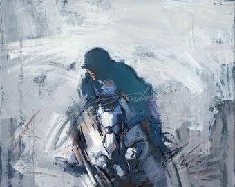 Gray Horse Equestrian Hunter Jumper Horse Rider Fine Art Print