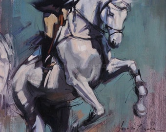 Gray Jumper Bucking Giclée Fine Art Print